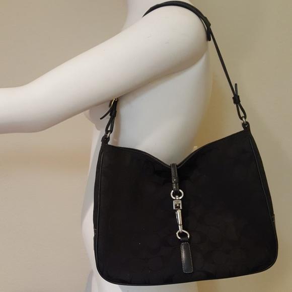 d07a765457de Coach Handbags - Coach Black Signature Jacquard Hobo Shoulder Bag